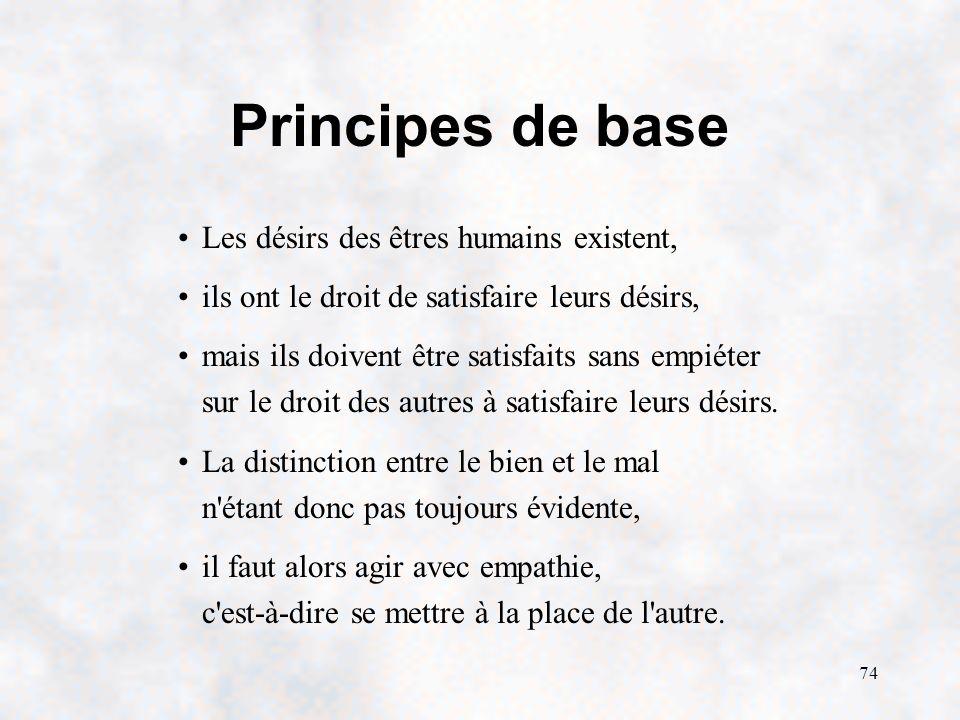 74 Principes de base Les désirs des êtres humains existent, ils ont le droit de satisfaire leurs désirs, mais ils doivent être satisfaits sans empiéter sur le droit des autres à satisfaire leurs désirs.