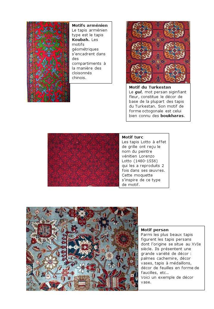 Motifs arménien Le tapis arménien type est le tapis Koubah. Les motifs géométriques sencadrent dans des compartiments à la manière des cloisonnés chin