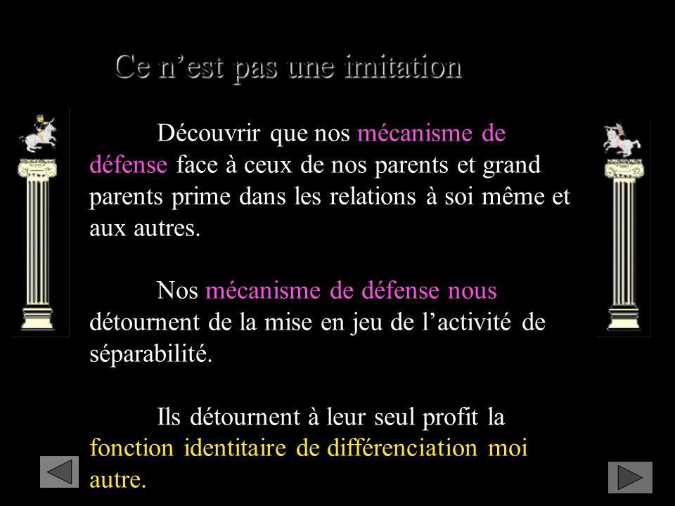 Ce nest pas une imitation Découvrir que nos mécanisme de défense face à ceux de nos parents et grand parents prime dans les relations à soi même et aux autres.