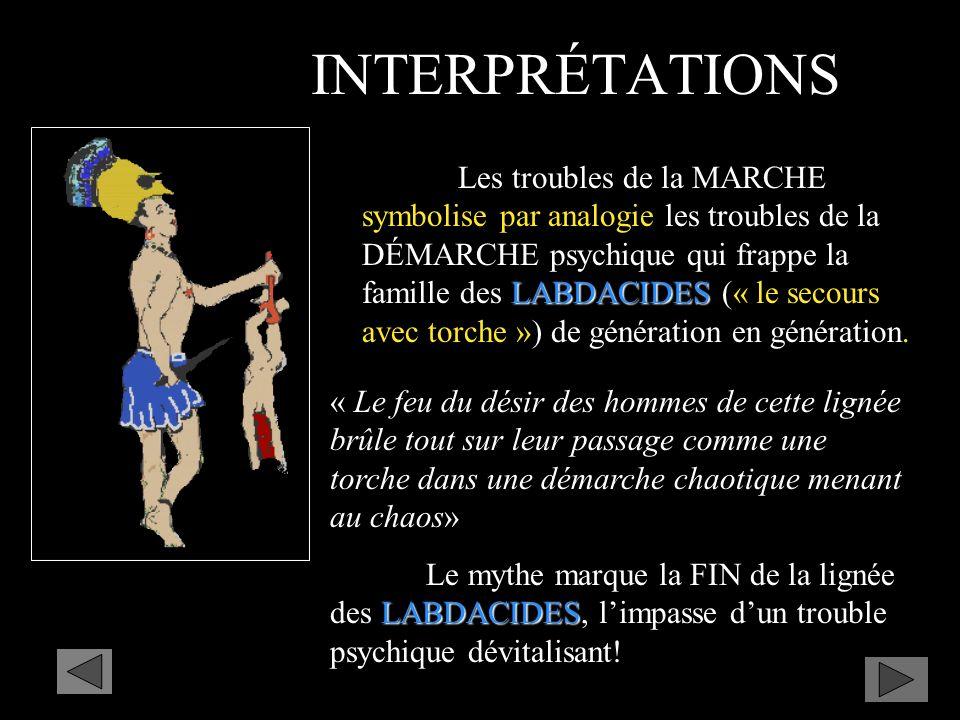 LABDACIDES Les troubles de la MARCHE symbolise par analogie les troubles de la DÉMARCHE psychique qui frappe la famille des LABDACIDES (« le secours avec torche ») de génération en génération.