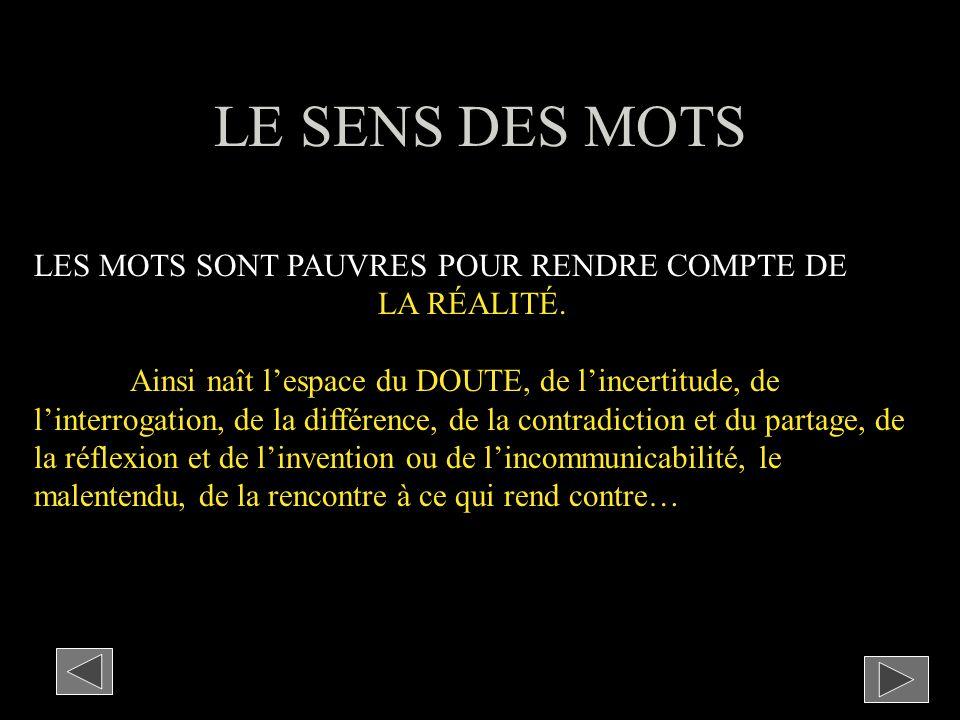 LE SENS DES MOTS LES MOTS SONT PAUVRES POUR RENDRE COMPTE DE LA RÉALITÉ.
