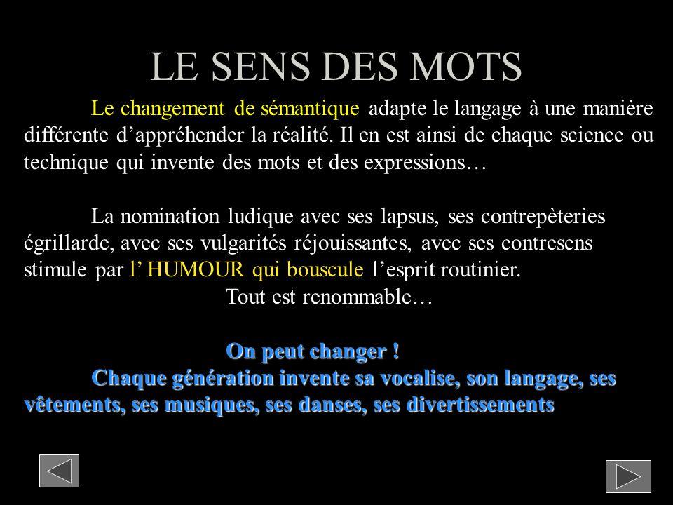 LE SENS DES MOTS Le changement de sémantique adapte le langage à une manière différente dappréhender la réalité.