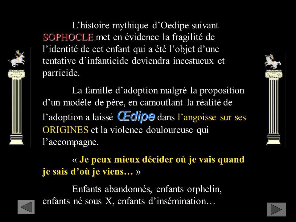 SOPHOCLE Lhistoire mythique dOedipe suivant SOPHOCLE met en évidence la fragilité de lidentité de cet enfant qui a été lobjet dune tentative dinfanticide deviendra incestueux et parricide.