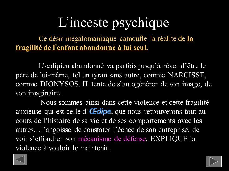 Linceste psychique Ce désir mégalomaniaque camoufle la réalité de la fragilité de lenfant abandonné à lui seul.
