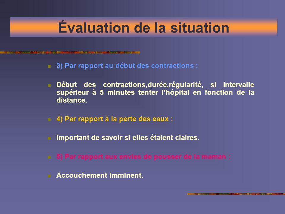 Évaluation de la situation 3) Par rapport au début des contractions : Début des contractions,durée,régularité, si intervalle supérieur à 5 minutes ten