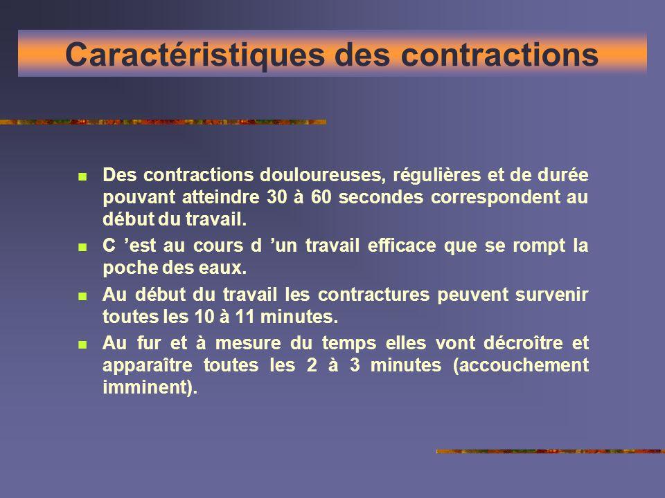 Caractéristiques des contractions Des contractions douloureuses, régulières et de durée pouvant atteindre 30 à 60 secondes correspondent au début du t