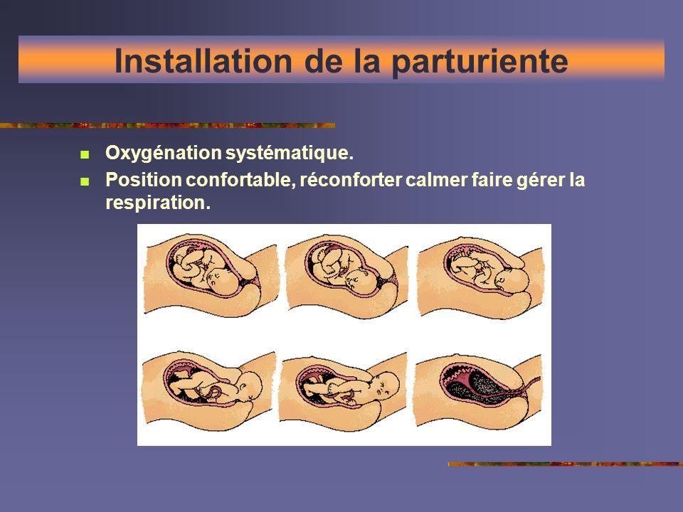 Installation de la parturiente Oxygénation systématique. Position confortable, réconforter calmer faire gérer la respiration.