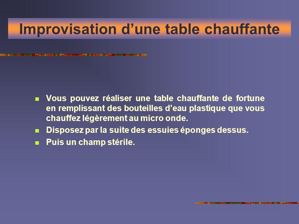 Improvisation dune table chauffante Vous pouvez réaliser une table chauffante de fortune en remplissant des bouteilles deau plastique que vous chauffe