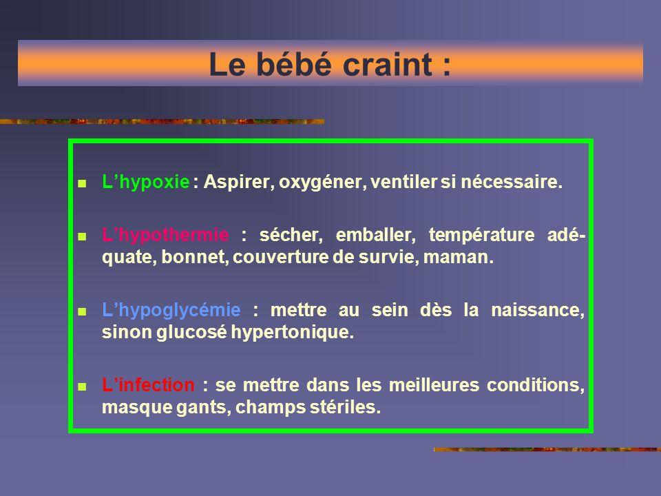 Le bébé craint : Lhypoxie : Aspirer, oxygéner, ventiler si nécessaire. Lhypothermie : sécher, emballer, température adé- quate, bonnet, couverture de