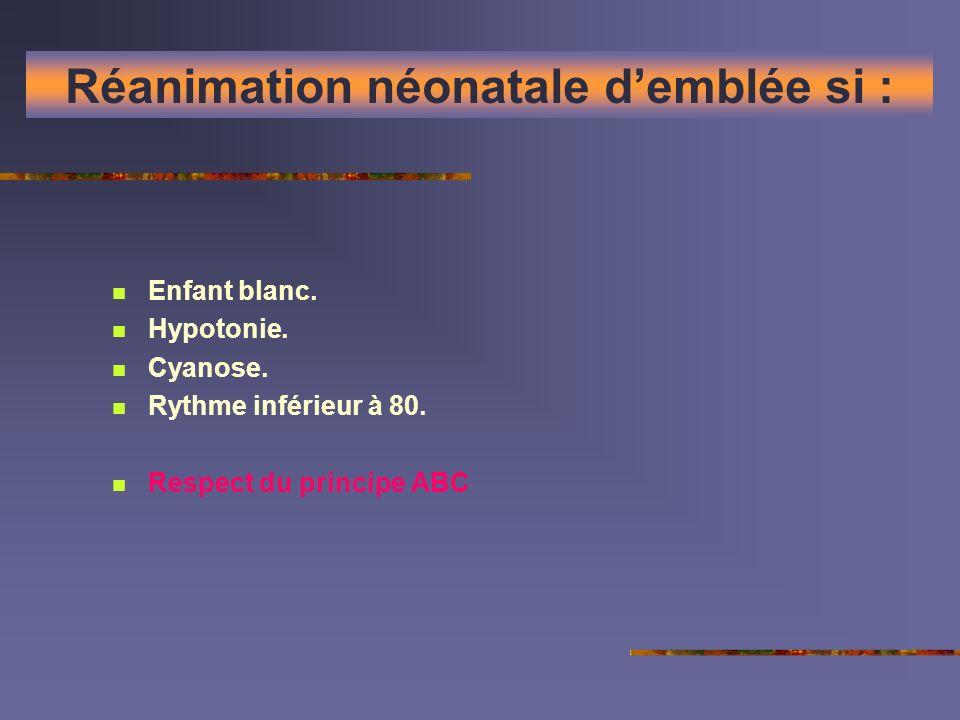 Réanimation néonatale demblée si : Enfant blanc. Hypotonie. Cyanose. Rythme inférieur à 80. Respect du principe ABC