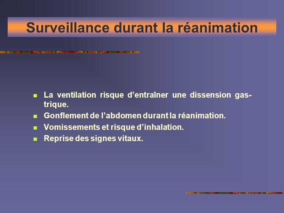 Surveillance durant la réanimation La ventilation risque dentraîner une dissension gas- trique. Gonflement de labdomen durant la réanimation. Vomissem