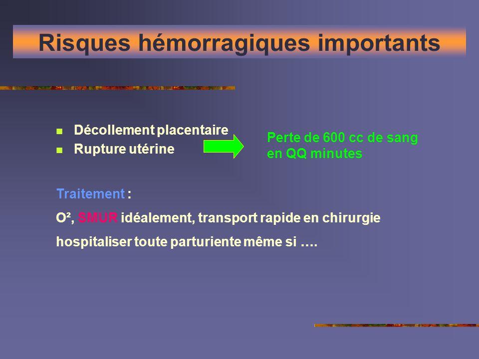 Risques hémorragiques importants Décollement placentaire Rupture utérine Perte de 600 cc de sang en QQ minutes Traitement : O², SMUR idéalement, trans