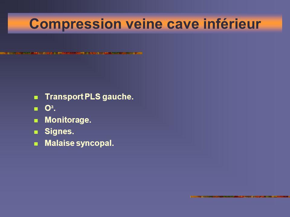 Compression veine cave inférieur Transport PLS gauche. O ². Monitorage. Signes. Malaise syncopal.