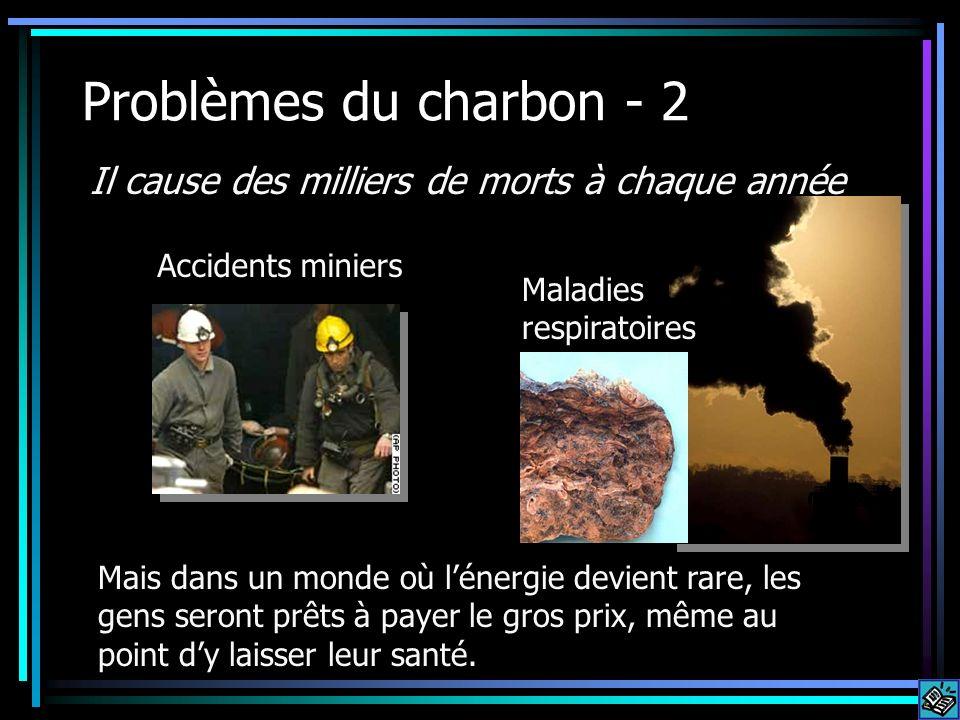 Problèmes du charbon - 2 Il cause des milliers de morts à chaque année Accidents miniers Maladies respiratoires Mais dans un monde où lénergie devient