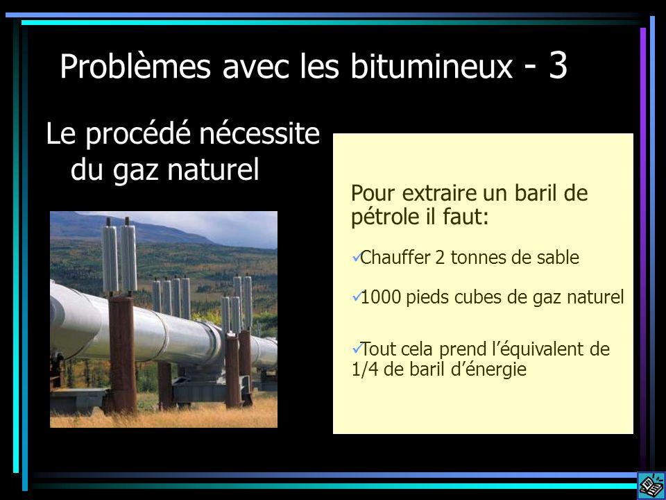 Problèmes avec les bitumineux - 3 Le procédé nécessite du gaz naturel Pour extraire un baril de pétrole il faut: Chauffer 2 tonnes de sable 1000 pieds