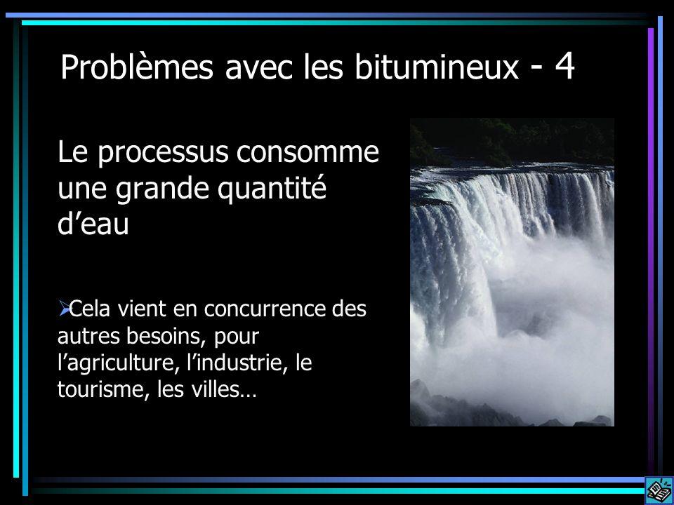 Problèmes avec les bitumineux - 4 Le processus consomme une grande quantité deau Cela vient en concurrence des autres besoins, pour lagriculture, lind