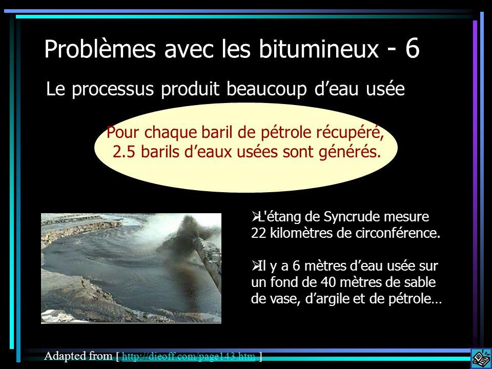 Problèmes avec les bitumineux - 6 Le processus produit beaucoup deau usée Adapted from [ http://dieoff.com/page143.htm ]http://dieoff.com/page143.htm