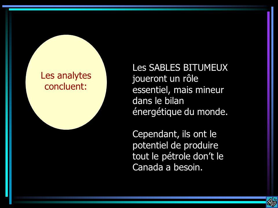 Some analysts conclude that: Les analytes concluent: Les SABLES BITUMEUX joueront un rôle essentiel, mais mineur dans le bilan énergétique du monde. C