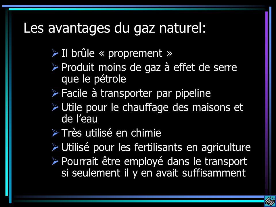 Les avantages du gaz naturel: Il brûle « proprement » Produit moins de gaz à effet de serre que le pétrole Facile à transporter par pipeline Utile pou