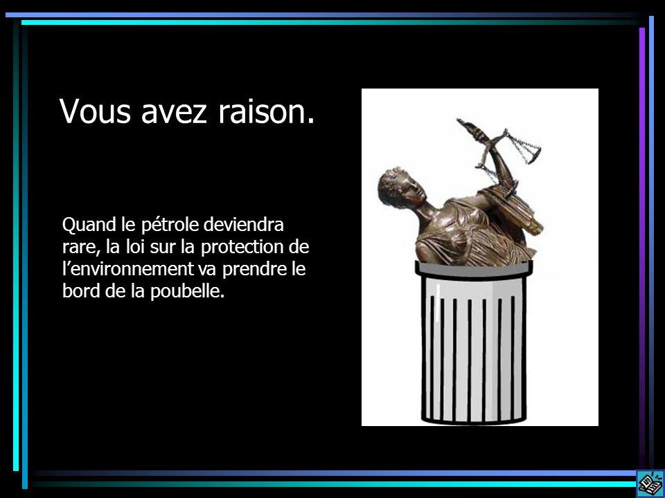 Vous avez raison. Quand le pétrole deviendra rare, la loi sur la protection de lenvironnement va prendre le bord de la poubelle.