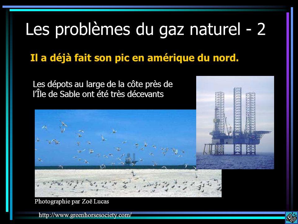 Les problèmes du gaz naturel - 2 http://www.greenhorsesociety.com/ Il a déjà fait son pic en amérique du nord. Les dépots au large de la côte près de