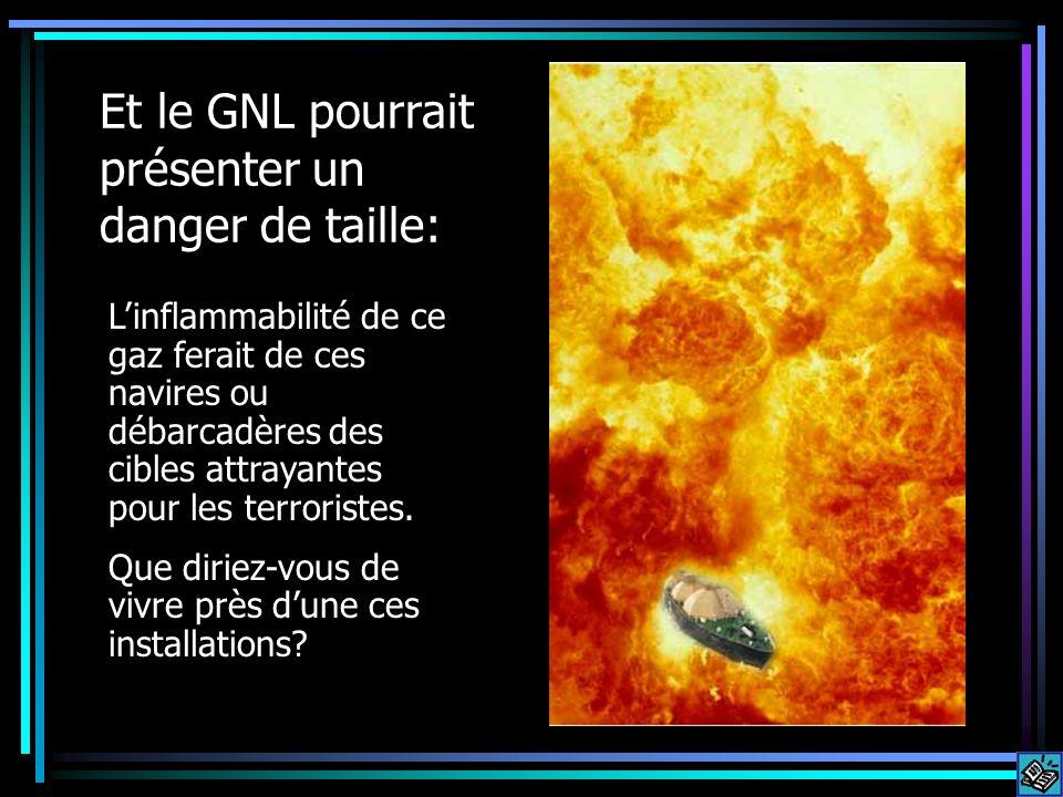 Et le GNL pourrait présenter un danger de taille: Linflammabilité de ce gaz ferait de ces navires ou débarcadères des cibles attrayantes pour les terr