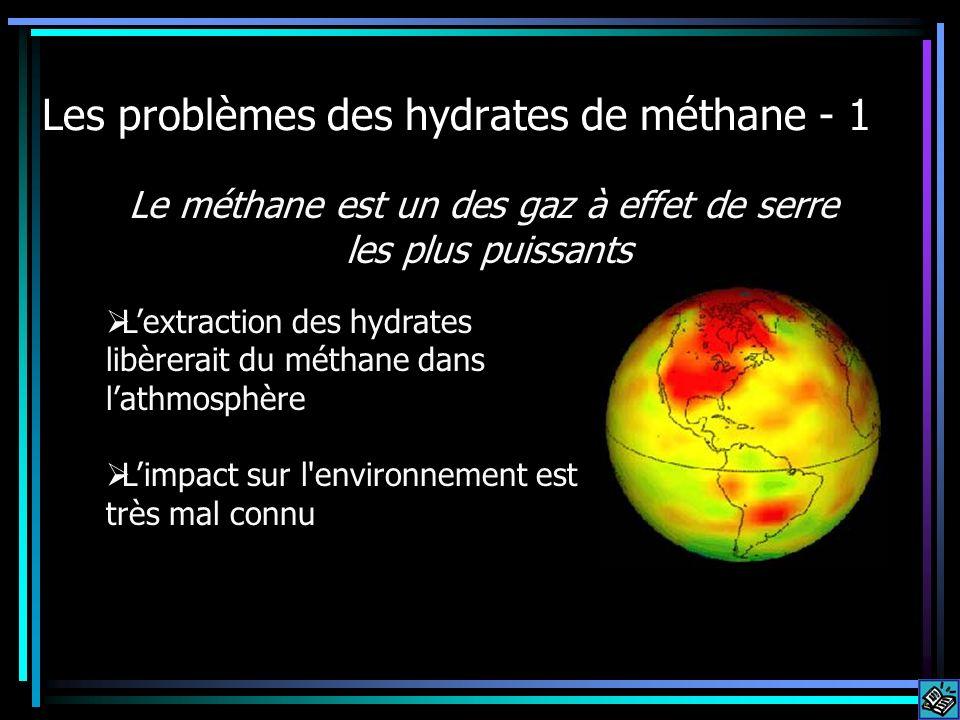 Les problèmes des hydrates de méthane - 1 Lextraction des hydrates libèrerait du méthane dans lathmosphère Limpact sur l'environnement est très mal co