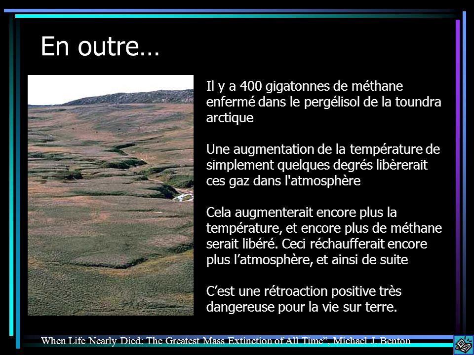 En outre… Il y a 400 gigatonnes de méthane enfermé dans le pergélisol de la toundra arctique Une augmentation de la température de simplement quelques