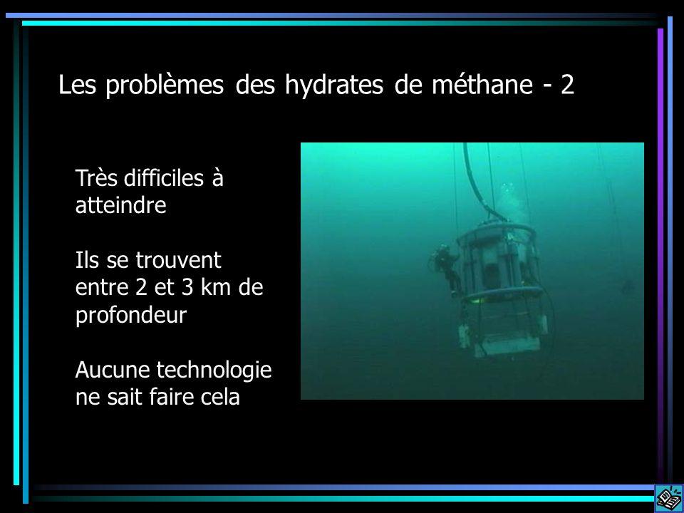 Les problèmes des hydrates de méthane - 2 Très difficiles à atteindre Ils se trouvent entre 2 et 3 km de profondeur Aucune technologie ne sait faire c