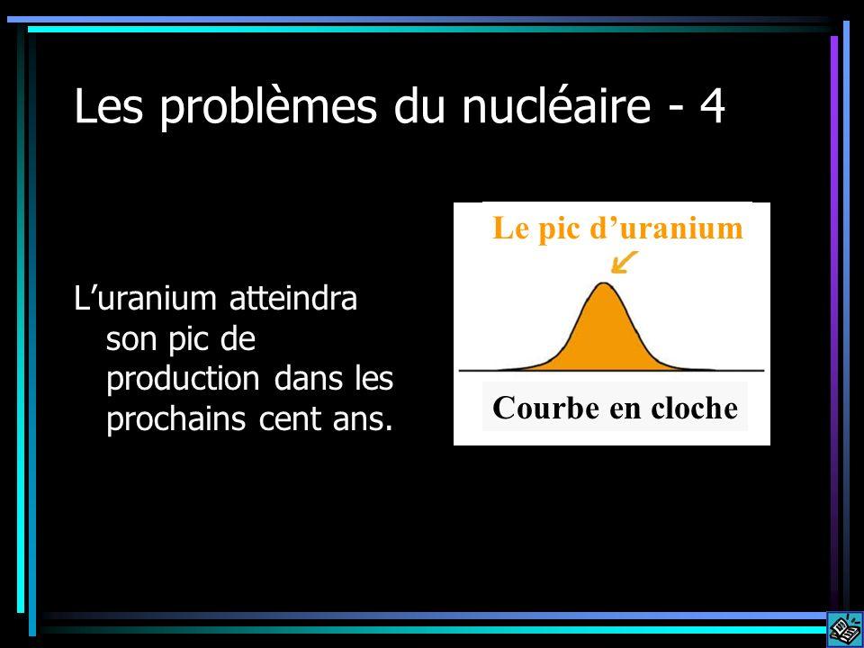 Les problèmes du nucléaire - 4 Luranium atteindra son pic de production dans les prochains cent ans. Courbe en cloche Le pic duranium