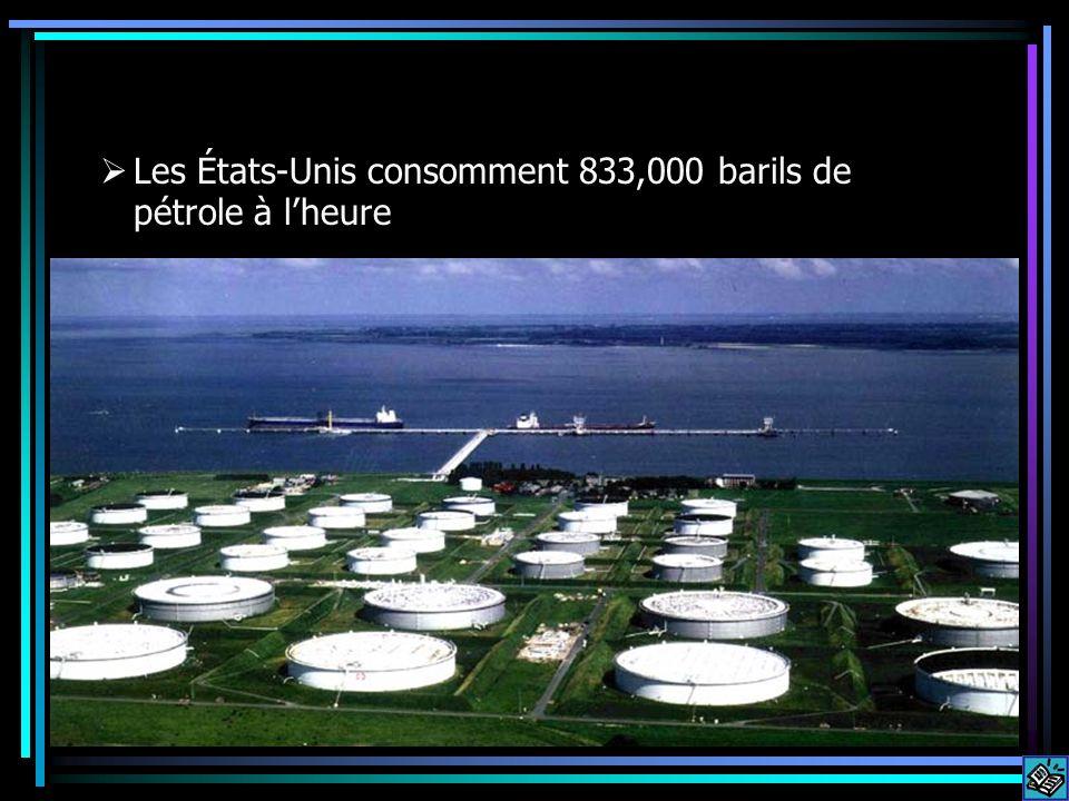 Les États-Unis consomment 833,000 barils de pétrole à lheure