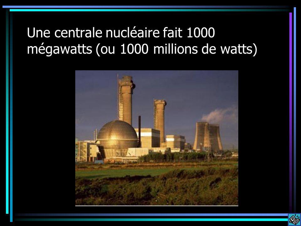 Une centrale nucléaire fait 1000 mégawatts (ou 1000 millions de watts)