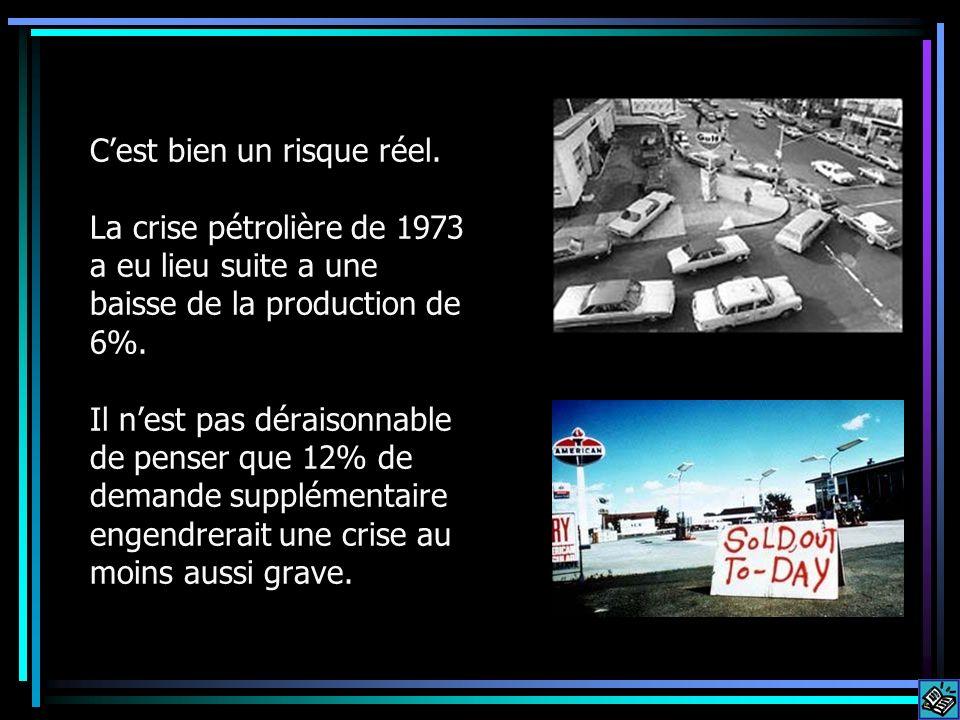 Cest bien un risque réel. La crise pétrolière de 1973 a eu lieu suite a une baisse de la production de 6%. Il nest pas déraisonnable de penser que 12%