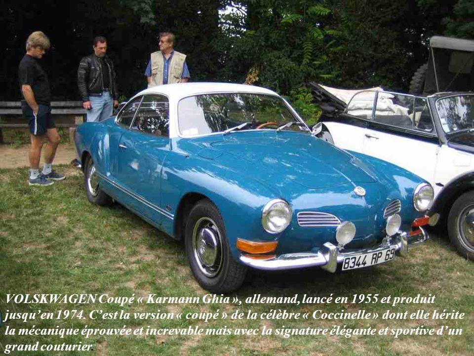 AUSTIN « Mini », anglaise, lancée en 1959. Traction avant avec un moteur transversal de 850 cm3 (première mondiale). Une vraie « 4 places », petite à