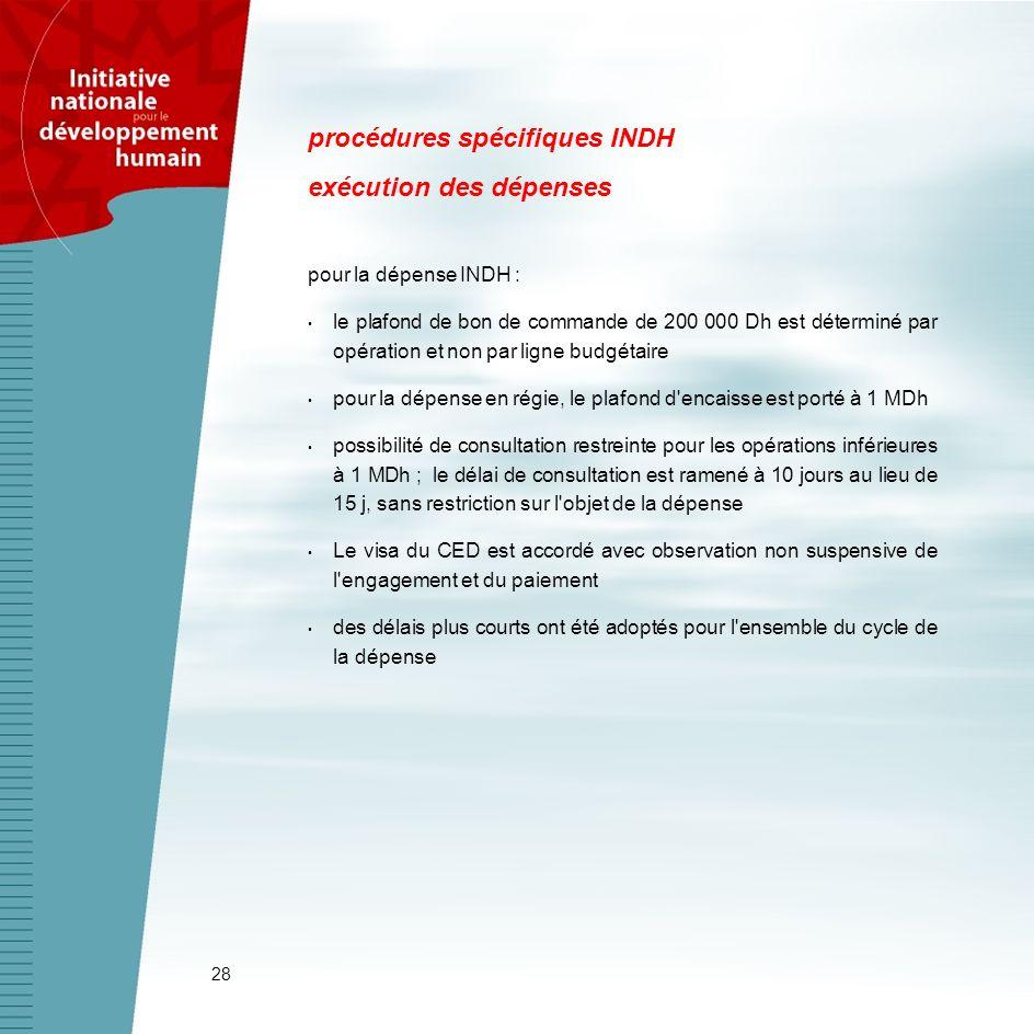 28 procédures spécifiques INDH exécution des dépenses pour la dépense INDH : le plafond de bon de commande de 200 000 Dh est déterminé par opération e