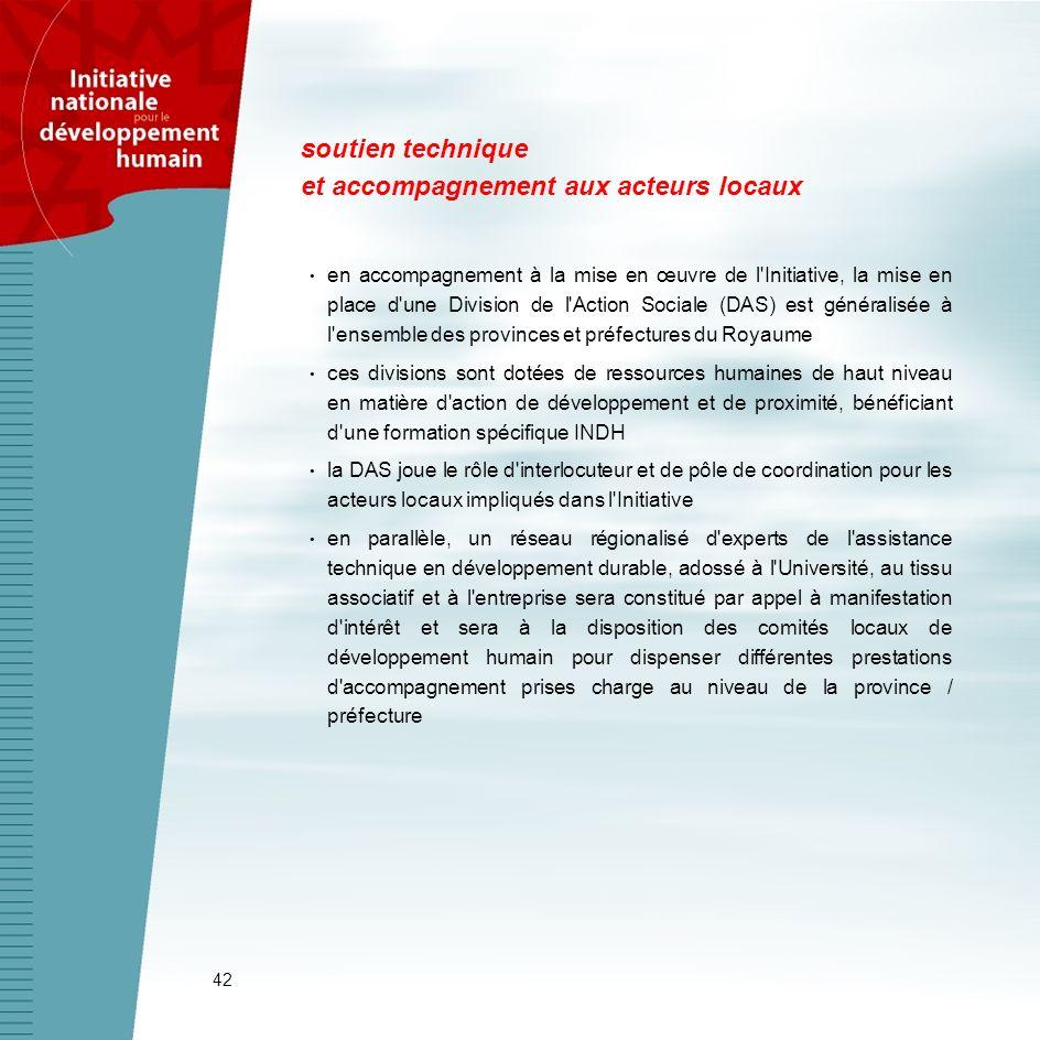 42 soutien technique et accompagnement aux acteurs locaux en accompagnement à la mise en œuvre de l'Initiative, la mise en place d'une Division de l'A