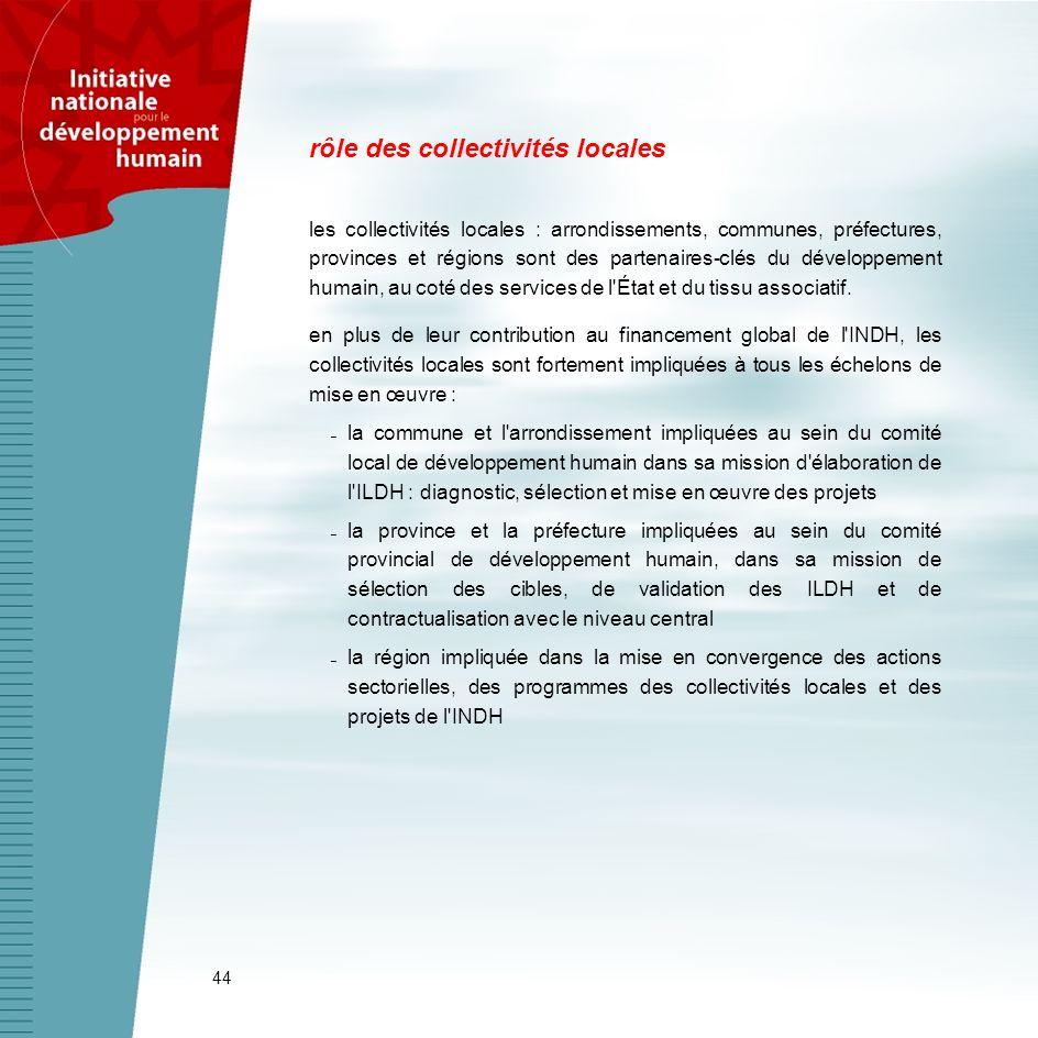44 rôle des collectivités locales les collectivités locales : arrondissements, communes, préfectures, provinces et régions sont des partenaires-clés d