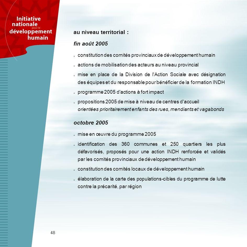 48 au niveau territorial : fin août 2005 constitution des comités provinciaux de développement humain actions de mobilisation des acteurs au niveau pr
