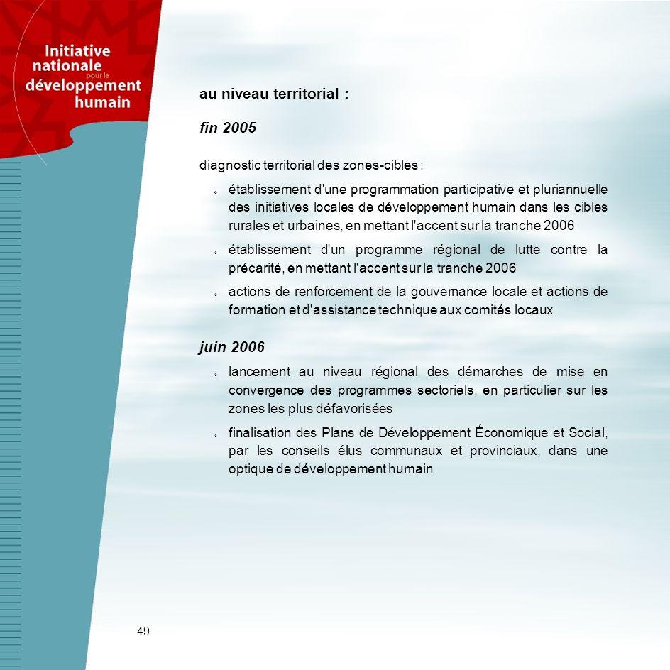 49 au niveau territorial : fin 2005 diagnostic territorial des zones-cibles : établissement d'une programmation participative et pluriannuelle des ini