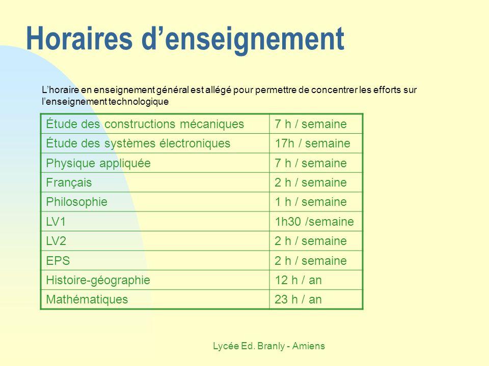 Lycée Ed. Branly - Amiens Horaires denseignement Étude des constructions mécaniques7 h / semaine Étude des systèmes électroniques17h / semaine Physiqu