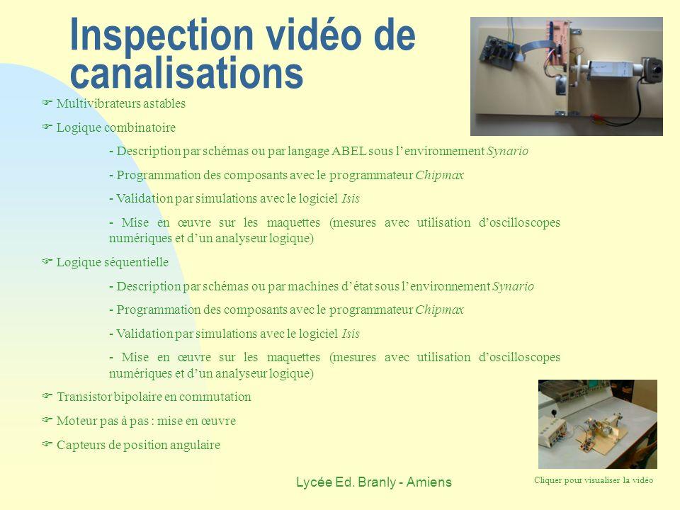 Lycée Ed. Branly - Amiens Inspection vidéo de canalisations Multivibrateurs astables Logique combinatoire - Description par schémas ou par langage ABE