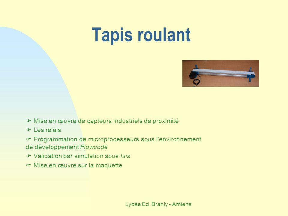 Lycée Ed. Branly - Amiens Tapis roulant Mise en œuvre de capteurs industriels de proximité Les relais Programmation de microprocesseurs sous lenvironn