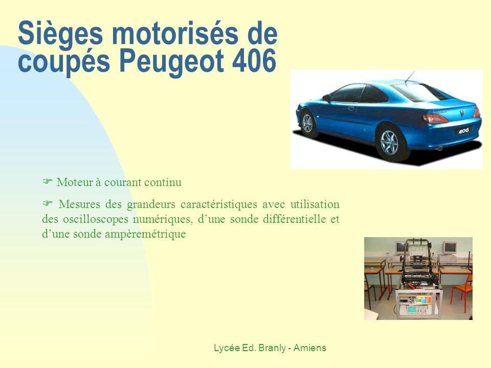 Lycée Ed. Branly - Amiens Sièges motorisés de coupés Peugeot 406 Moteur à courant continu Mesures des grandeurs caractéristiques avec utilisation des