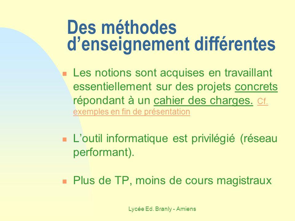 Lycée Ed. Branly - Amiens Des méthodes denseignement différentes Les notions sont acquises en travaillant essentiellement sur des projets concrets rép
