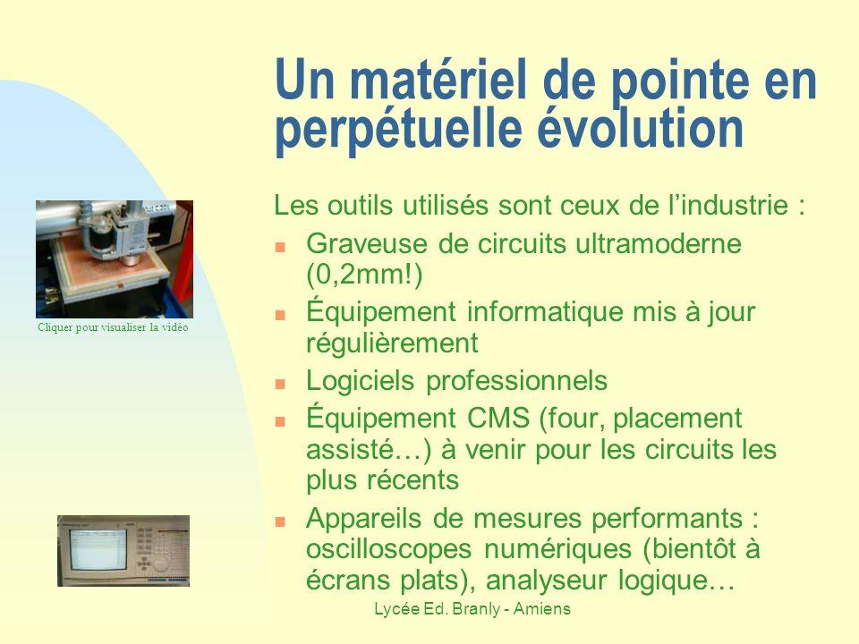Lycée Ed. Branly - Amiens Un matériel de pointe en perpétuelle évolution Les outils utilisés sont ceux de lindustrie : Graveuse de circuits ultramoder