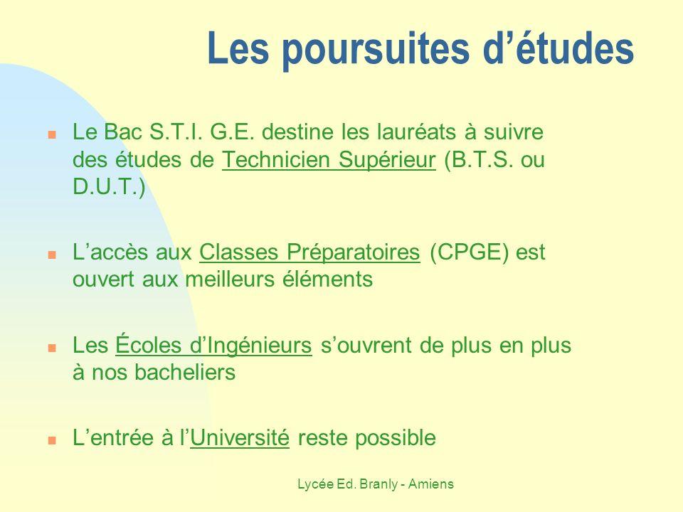 Lycée Ed. Branly - Amiens Les poursuites détudes Le Bac S.T.I. G.E. destine les lauréats à suivre des études de Technicien Supérieur (B.T.S. ou D.U.T.