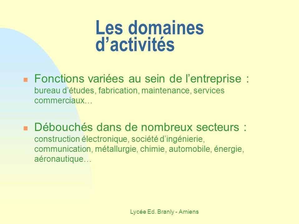 Lycée Ed. Branly - Amiens Les domaines dactivités Fonctions variées au sein de lentreprise : bureau détudes, fabrication, maintenance, services commer