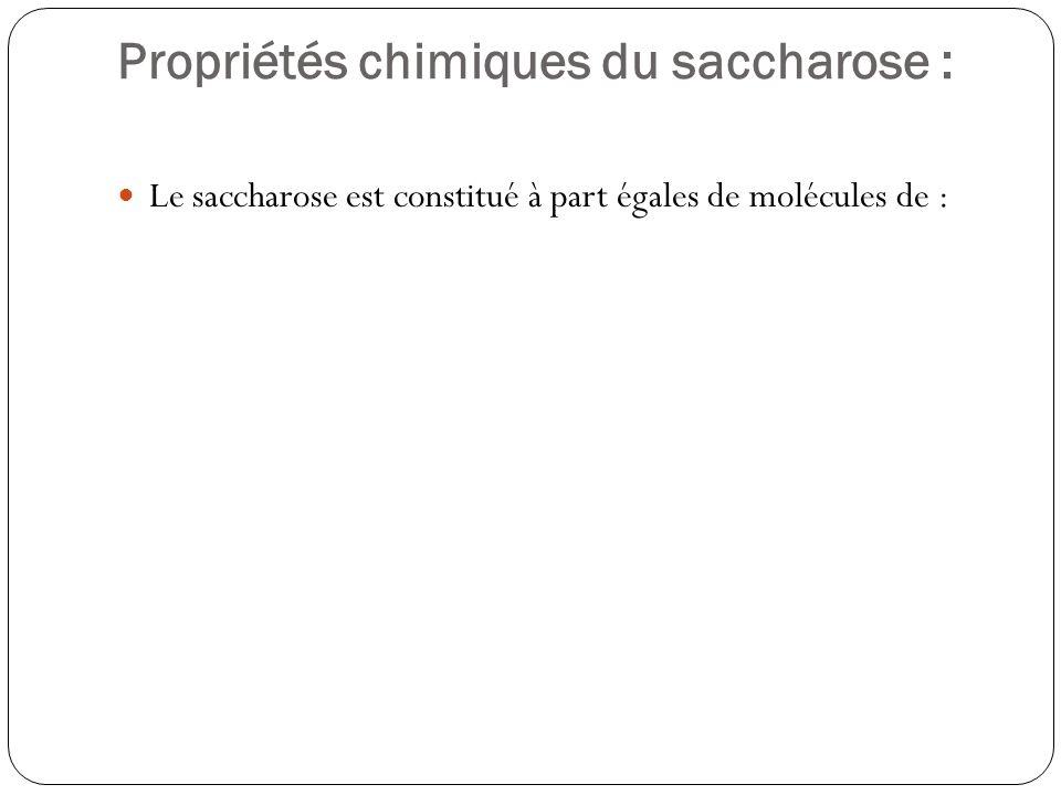 Propriétés chimiques du saccharose : Le saccharose est constitué à part égales de molécules de : glucose (ou dextrose) et fructose (ou lévulose).