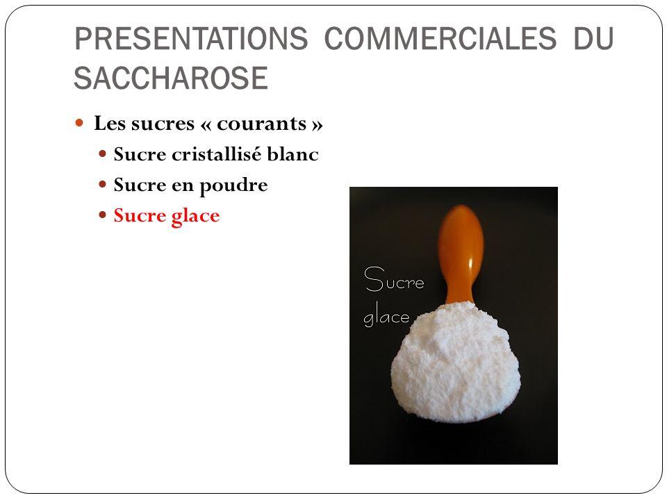 PRESENTATIONS COMMERCIALES DU SACCHAROSE Les sucres « courants » Sucre cristallisé blanc Sucre en poudre Sucre glace