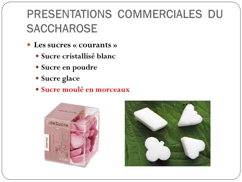 PRESENTATIONS COMMERCIALES DU SACCHAROSE Les sucres « courants » Sucre cristallisé blanc Sucre en poudre Sucre glace Sucre moulé en morceaux